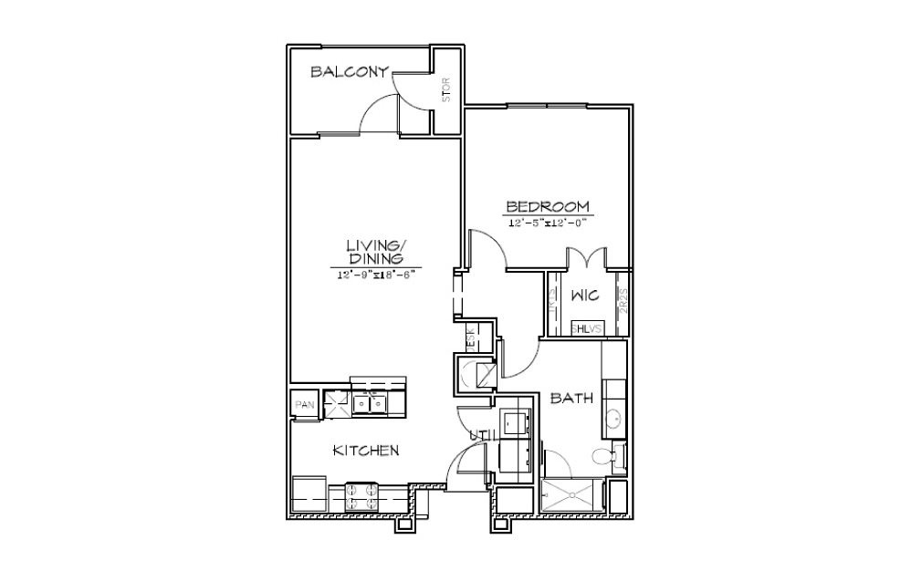 A1 - 1 bedroom floorplan layout with 1 bath and 770 square feet (1st floor 2D)
