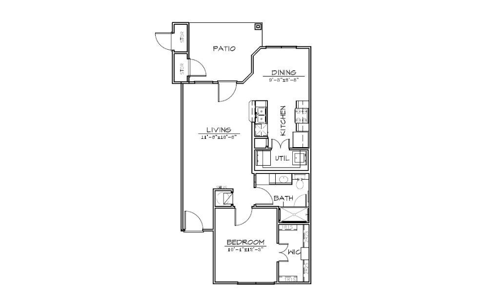 A2 - 1 bedroom floorplan layout with 1 bath and 730 square feet (1st floor 2D)