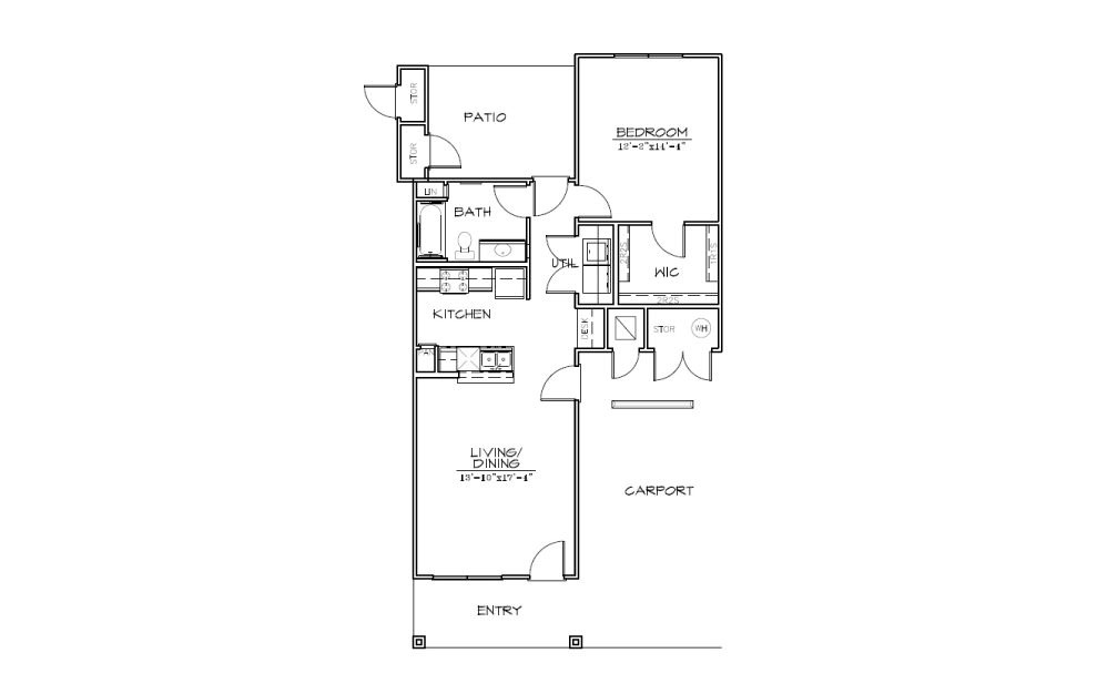 A3 - 1 bedroom floorplan layout with 1 bath and 830 square feet (1st floor 2D)
