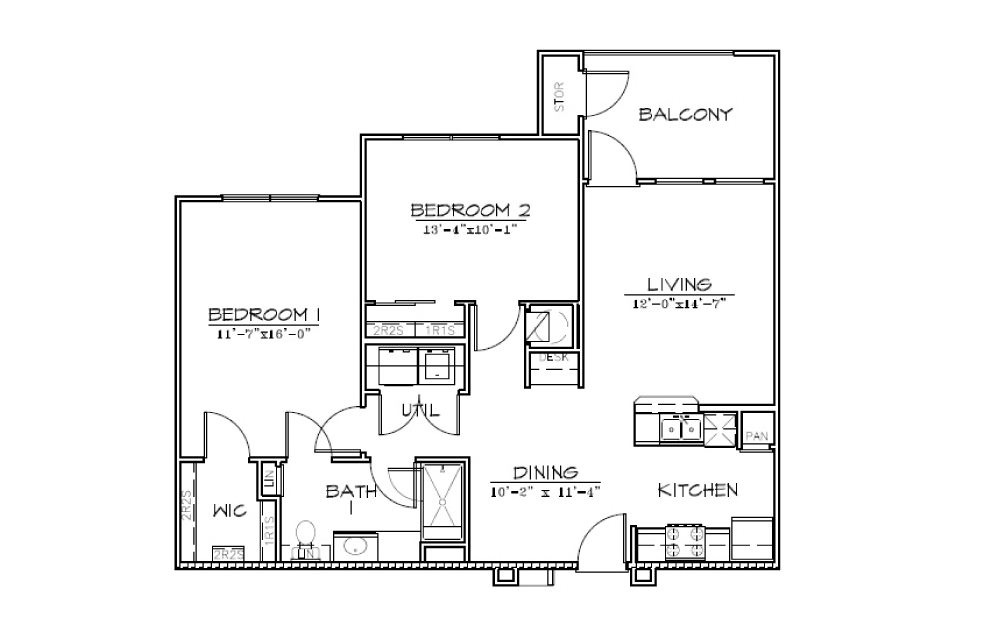 B1 - 2 bedroom floorplan layout with 1 bath and 945 square feet (1st floor 2D)