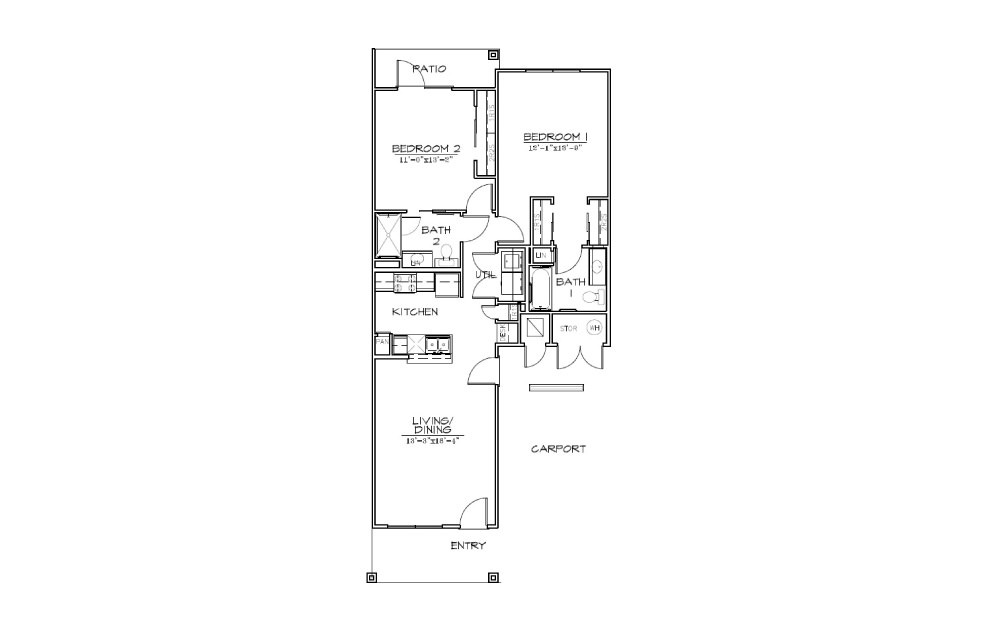 B2 - 2 bedroom floorplan layout with 2 bath and 1047 square feet (1st floor 2D)