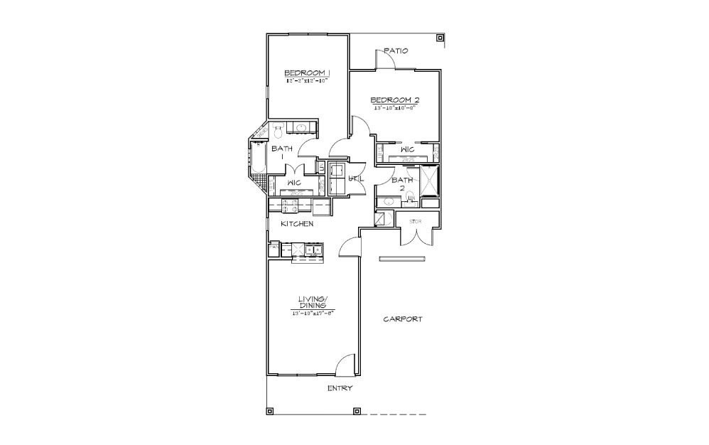 B3 - 2 bedroom floorplan layout with 2 bath and 1080 square feet (1st floor 2D)