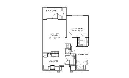 A1 - 1 bedroom floorplan layout with 1 bath and 770 square feet