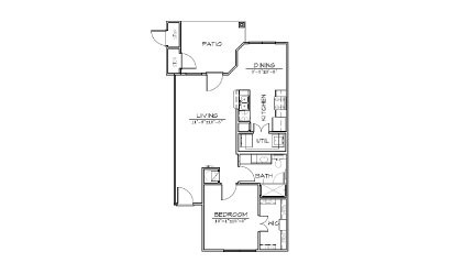 A2 - 1 bedroom floorplan layout with 1 bath and 730 square feet
