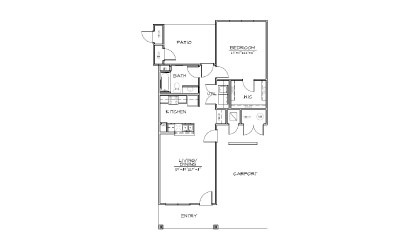 A3 - 1 bedroom floorplan layout with 1 bath and 830 square feet