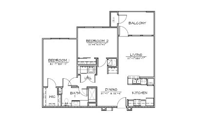B1 - 2 bedroom floorplan layout with 1 bath and 945 square feet