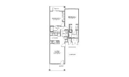 B2 - 2 bedroom floorplan layout with 2 bath and 1047 square feet