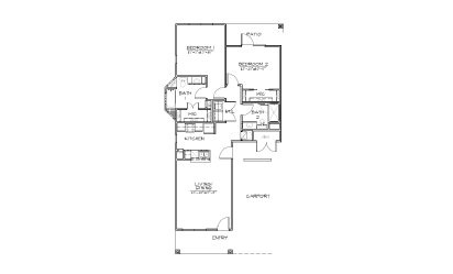 B3 - 2 bedroom floorplan layout with 2 bath and 1080 square feet